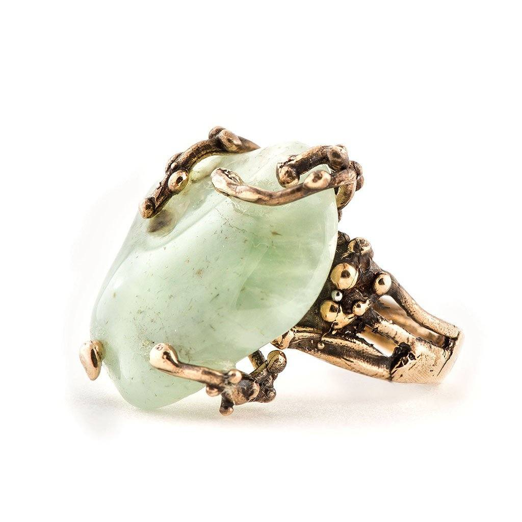 Green Prehnite Ring - One of a kind