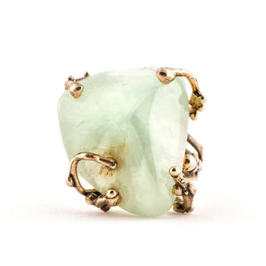 Green Prehnite Ring - One of a kind - Giardinoblu Jewellery Milan
