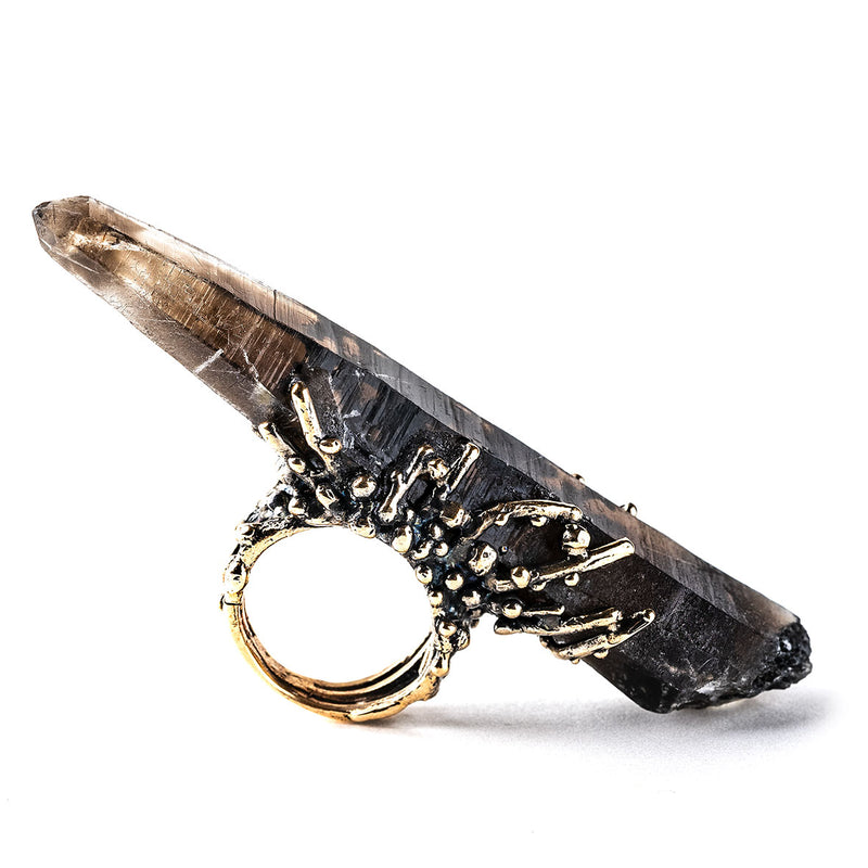 Giant Smoky Quartz Ring - Unique Piece Statement