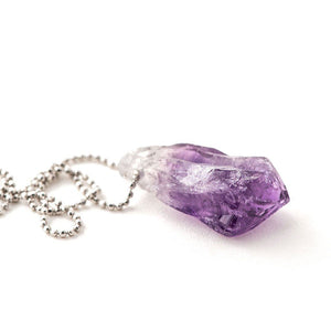 Amethyst Pendant with Sterling Silver Chain - One of a kind Necklace - Giardinoblu Jewellery Milan