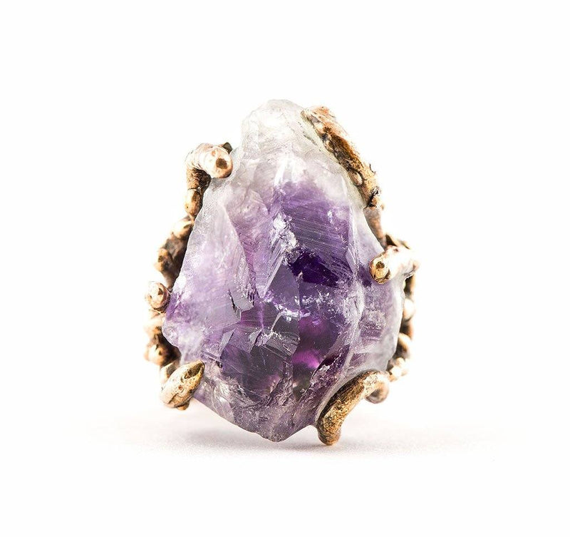 Raw Tip Amethyst Ring - One of a Kind Statement - Giardinoblu Jewellery Milan