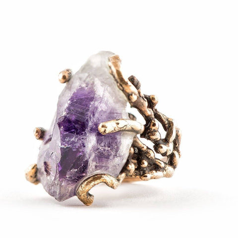 Raw Tip Amethyst Ring - One of a Kind Statement