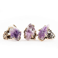Unique jewelry for healing Amethyst rings Giardinoblu Jewellery