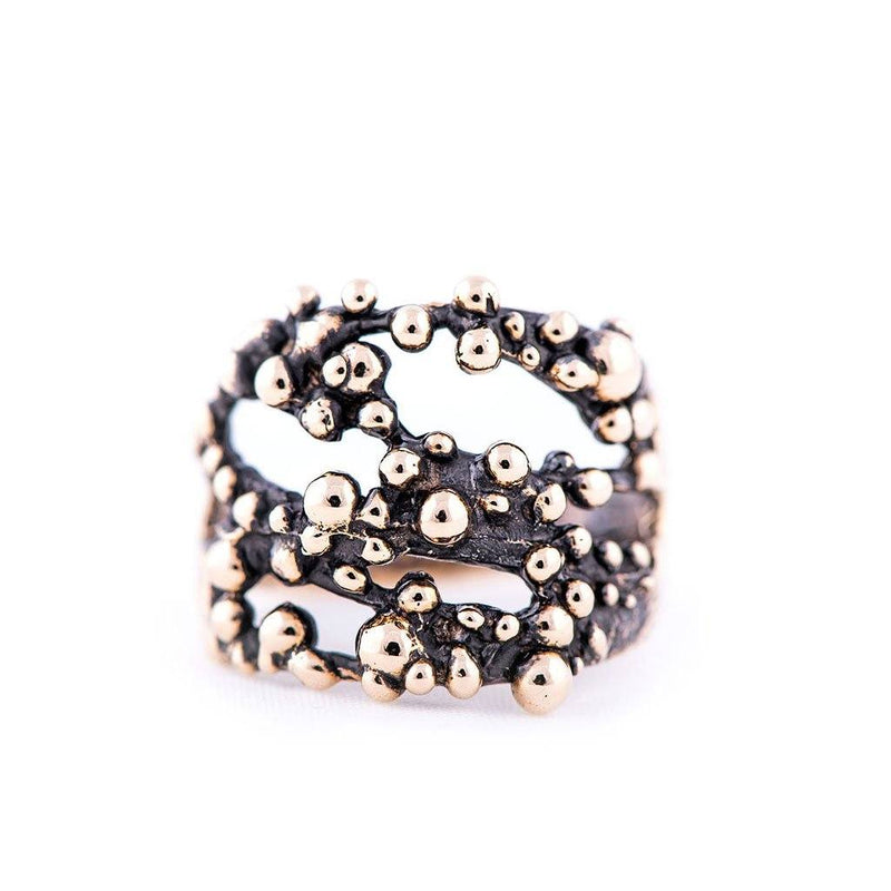 Antique Bronze Ring - Frizzy Shiny Bubbles - Giardinoblu Jewellery Milan