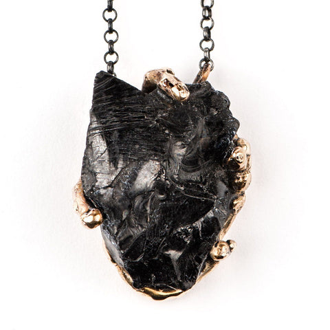 Shungite Pendant with silver chain - Unique Piece for men and women