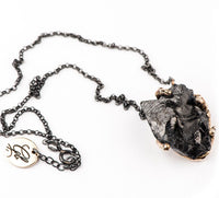 Silver Shungite Pendant with Silver Chain - One of a kind - Giardinoblu Jewellery Milan