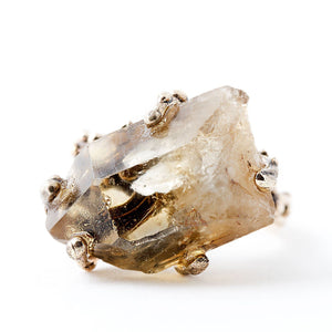 Smoky Quartz Crystal Ring - One of a kind - Giardinoblu Jewellery Milan