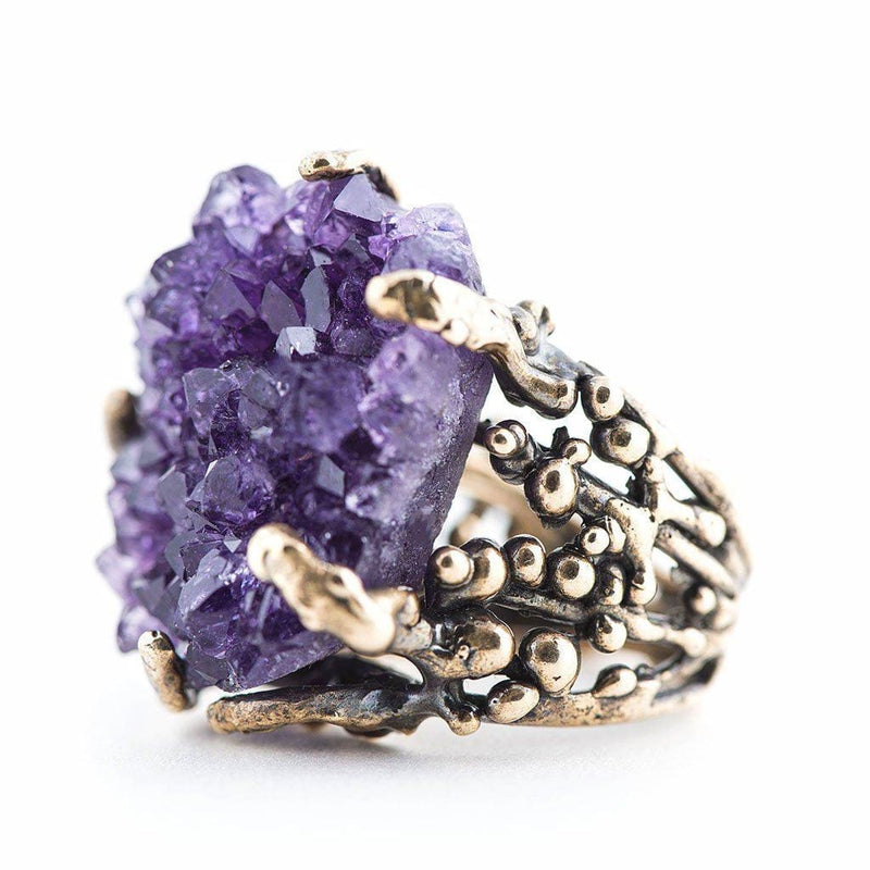 Amethyst Druzy Ring - One of a Kind Crystal Statement