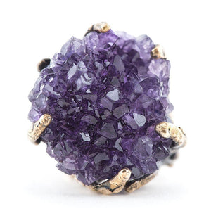 Amethyst Druzy Ring Crystal Healing jewelry