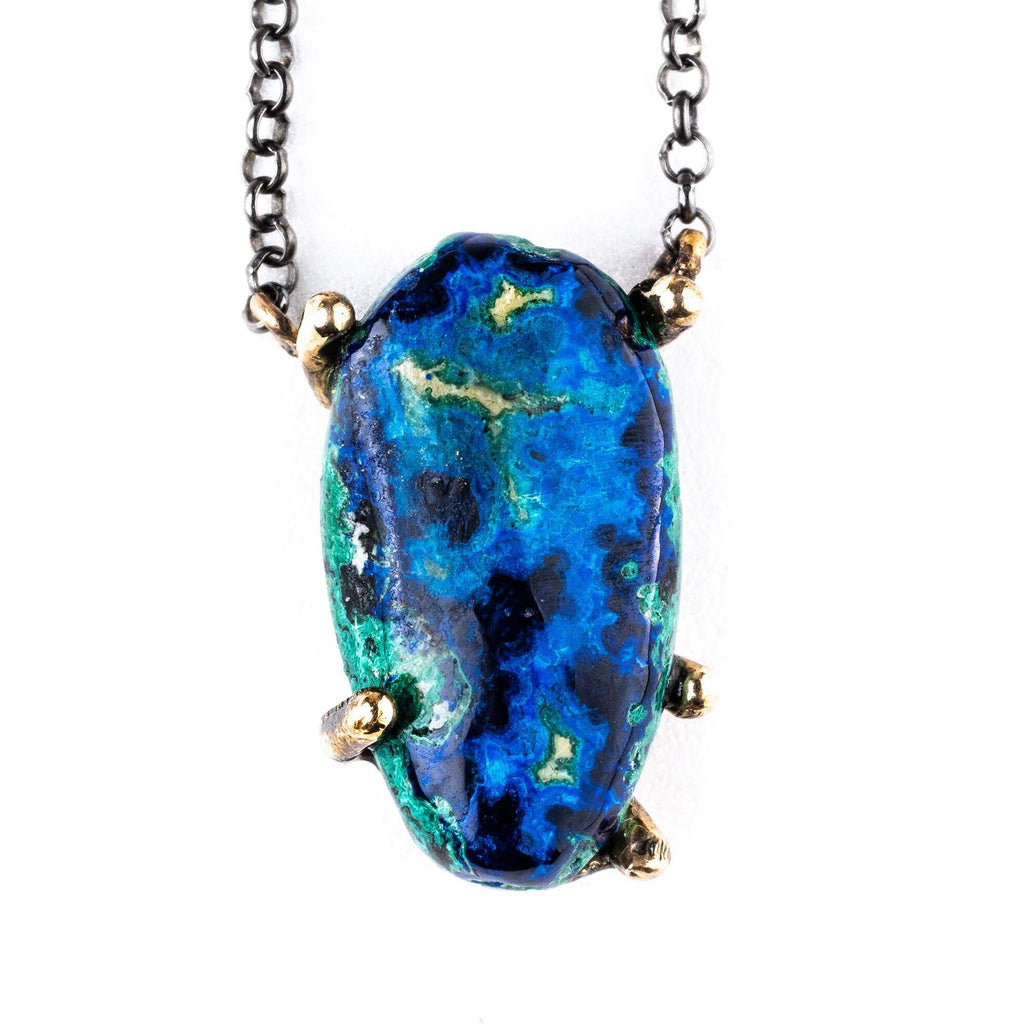 Azurite Malachite Chrysocolla Necklace - Unique Piece - Giardinoblu Jewellery Milan