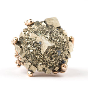 Pyrite Statement Ring - One of a Kind Ring - Giardinoblu Jewellery Milan