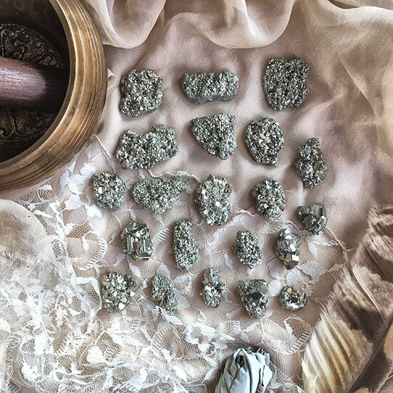 Pyrite Stones for healing talisman, overcoming procrastination and laziness