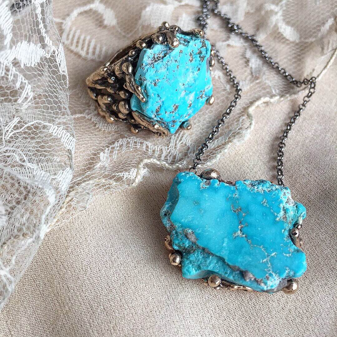Rough Turquoise Ring and necklace, Giardinoblu unique healing Jewelry