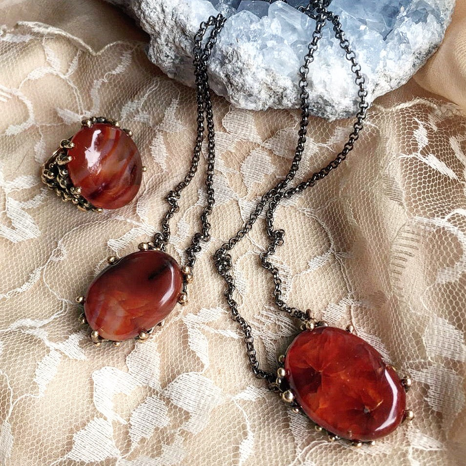 Crystals for new moms-Carnelian necklaces and ring