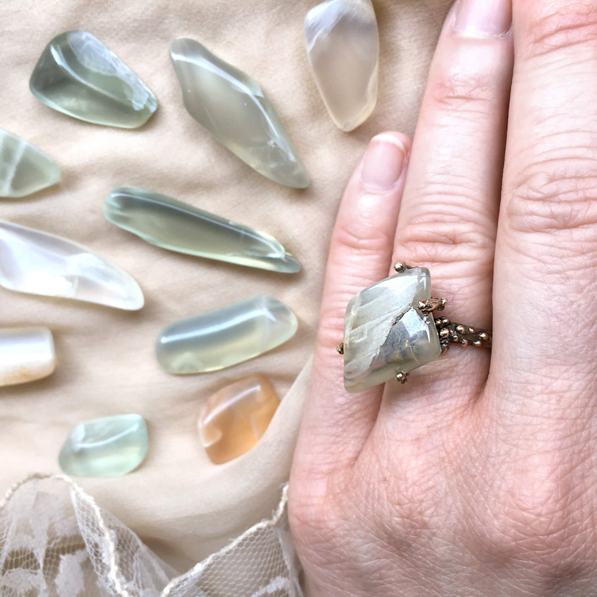 Moonstone healing ring, handmade one of a kind jewelry