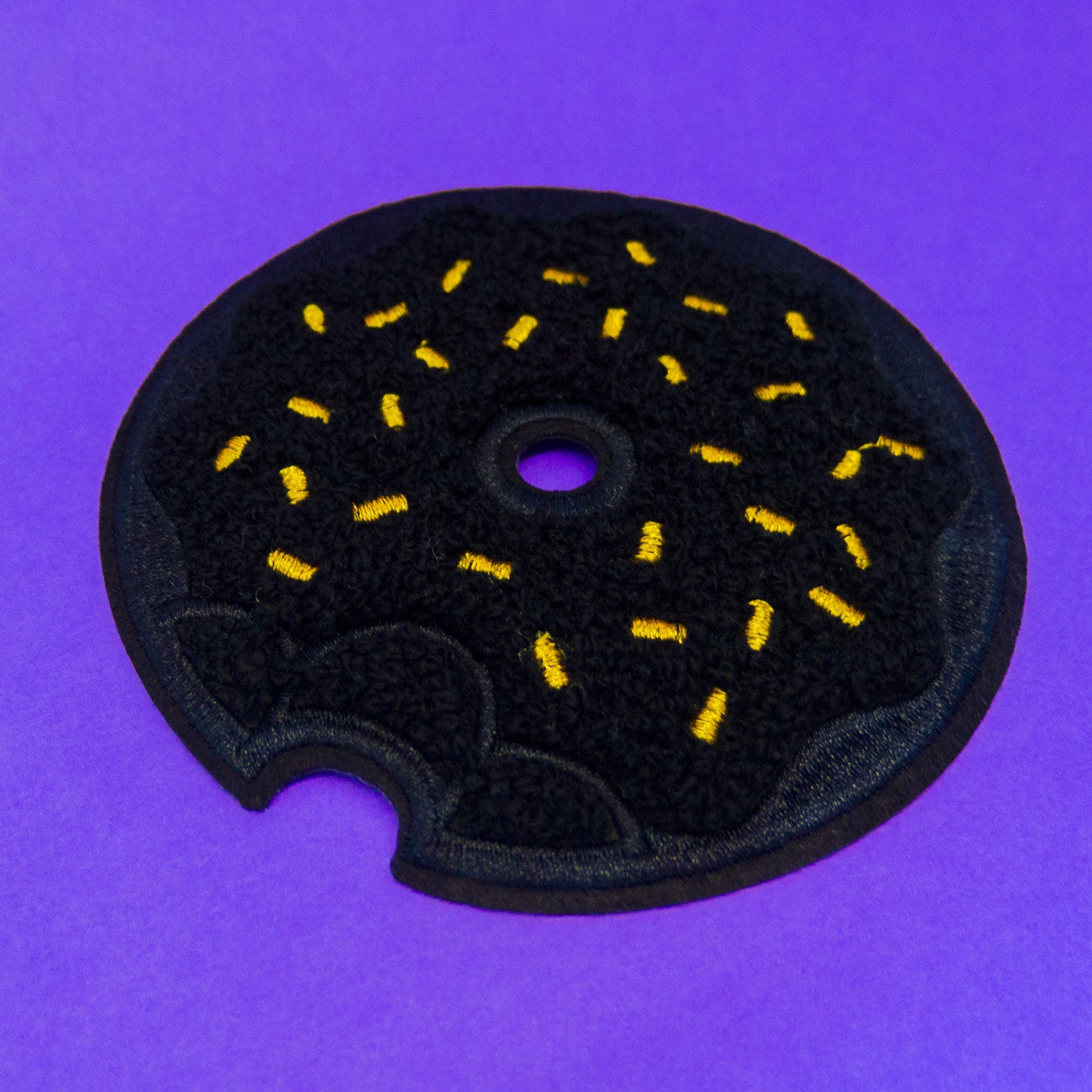 Black Donut Chenille Patch