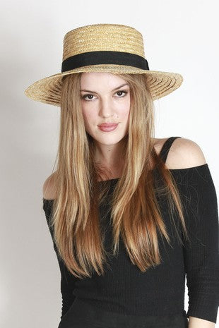 Floppy Straw Hat with black band