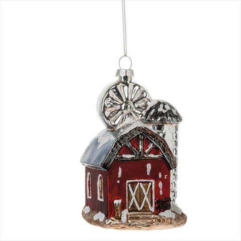 Red Barn Glass Ornament