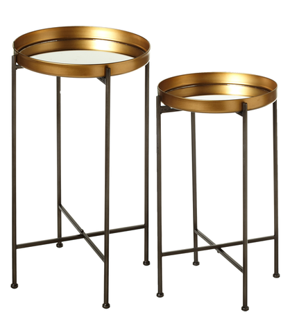 Antique gold mirror side tables (set of 2)