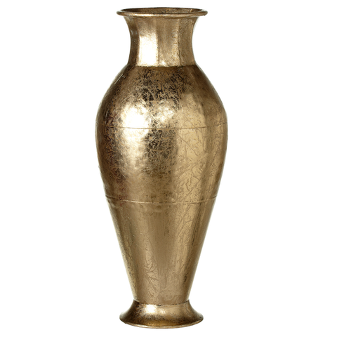 Gold curved metal vase