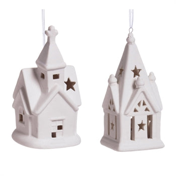 White Church Ceramic LED ornament