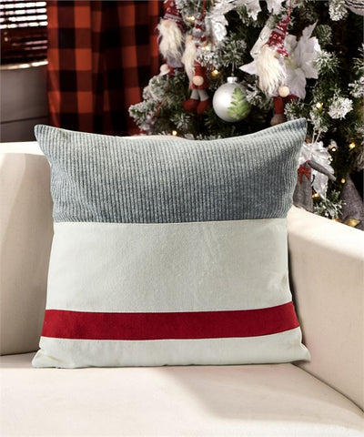 Grey, Red, and cream textured throw  Pillow