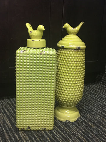 Green Cannister with Bird Lid