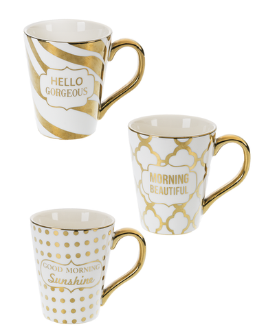 Porcelain Gold and White Mugs