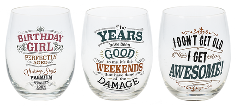 Stemless  Glasses Over the Hill Humor