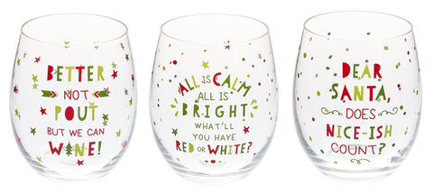 Funny Christmas Stemless Glass