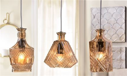 Lighting- Glass table/hanging lamp 3 assorted