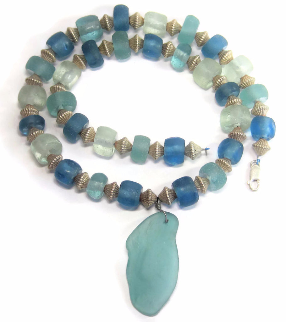 Vintage Sterling Blue Tumbled Sea Glass Bead Statement Necklace - Bejeweled Emporium - 1