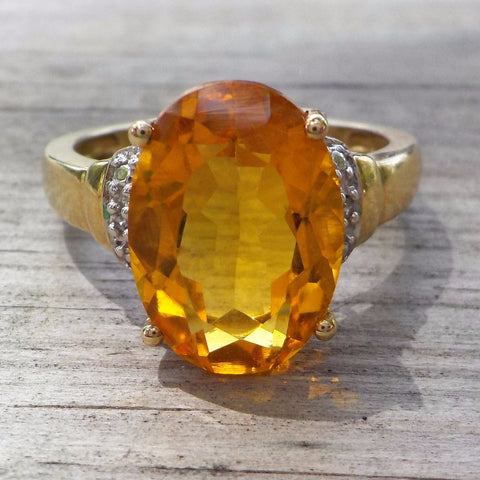 10K Yellow Gold 6 Carat Golden Beryl Diamond Ring Size 9