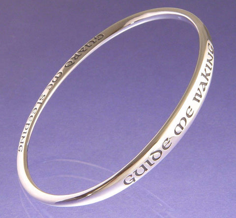 Guide Me Waking Guard Me Sleeping Sterling Silver Bangle Bracelet by Laurel Elliot - Bejeweled Emporium - 1