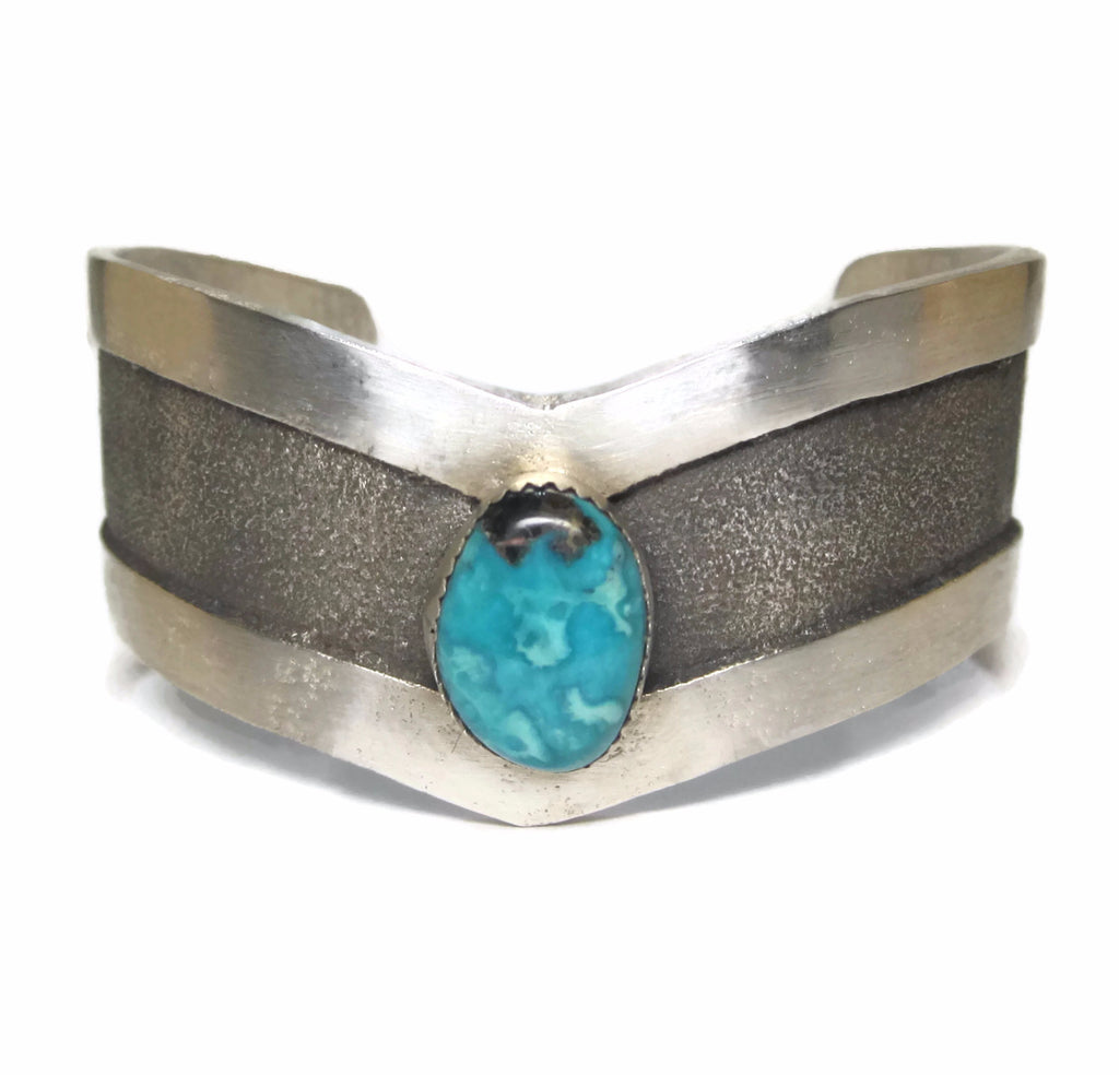 Vintage Navajo Sterling Tufa Turquoise Cuff Bracelet 6.75 Inches