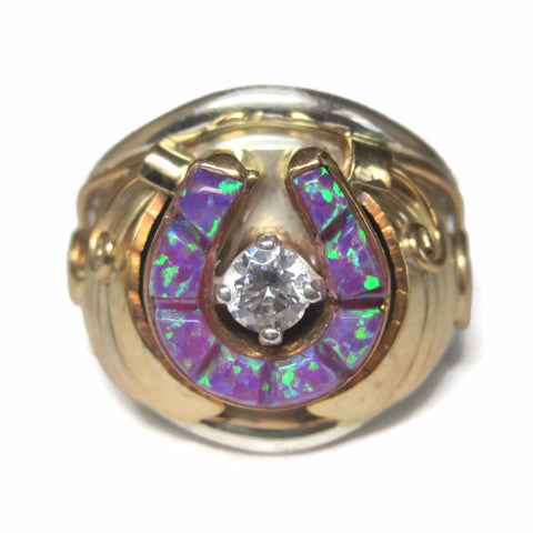 Navajo Sterling 12K Purple Opal Horseshoe Ring Size 8 Alice Gabby
