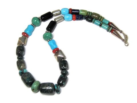 Vintage Southwestern Turquoise Bead Necklace 16 Inches
