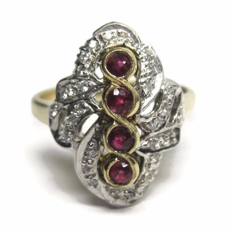 14K Two Tone 4 Stone Ruby and Diamond Ring Size 6 - Bejeweled Emporium - 1