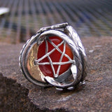 OOAK Carnelian Unicorn  Hidden Pentagram Moon Ring Size 8 - Bejeweled Emporium - 4