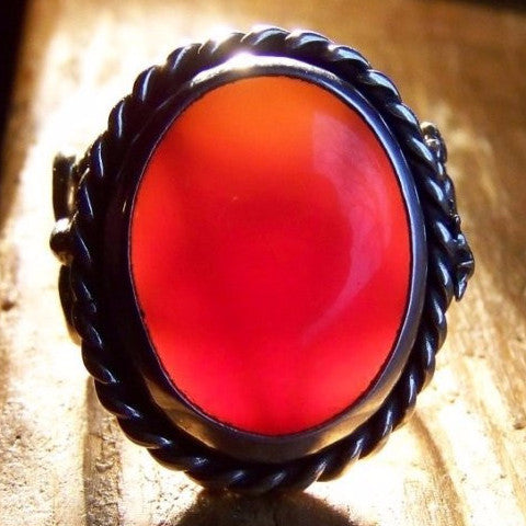 OOAK Carnelian Unicorn  Hidden Pentagram Moon Ring Size 8 - Bejeweled Emporium - 1