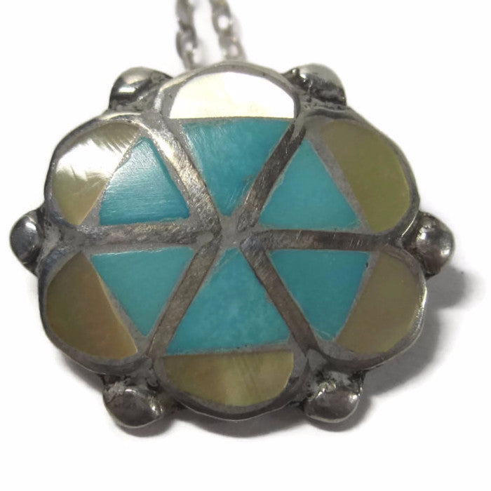 Vintage Sterling Navajo Inlaid Yellow Mother of Pearl and Turquoise Flower Pendant - Bejeweled Emporium - 1
