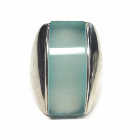 1990s Chalcedony Statement Ring Vintage Sterling Size 7 - Bejeweled Emporium - 1