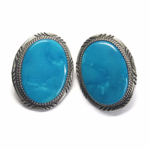 Large Vintage Navajo Blue Turquoise Earrings Begay Blue Gem Mine - Bejeweled Emporium - 1