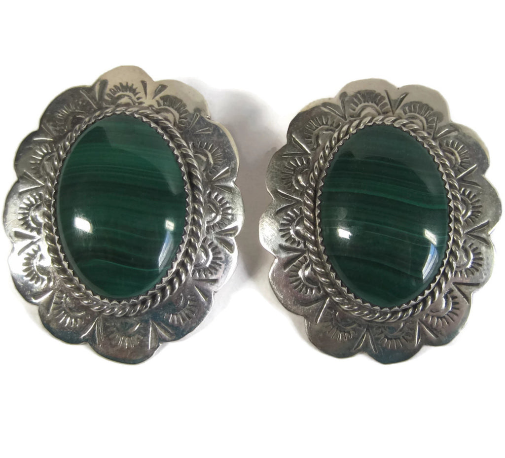 Navajo Malachite Earrings, Vintage Native American Jewelry - Bejeweled Emporium - 1