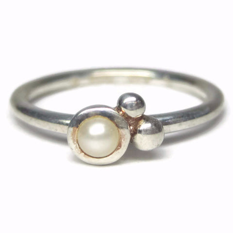 Dainty Minimalist Pearl Ring Sterling Size 8 - Bejeweled Emporium - 1