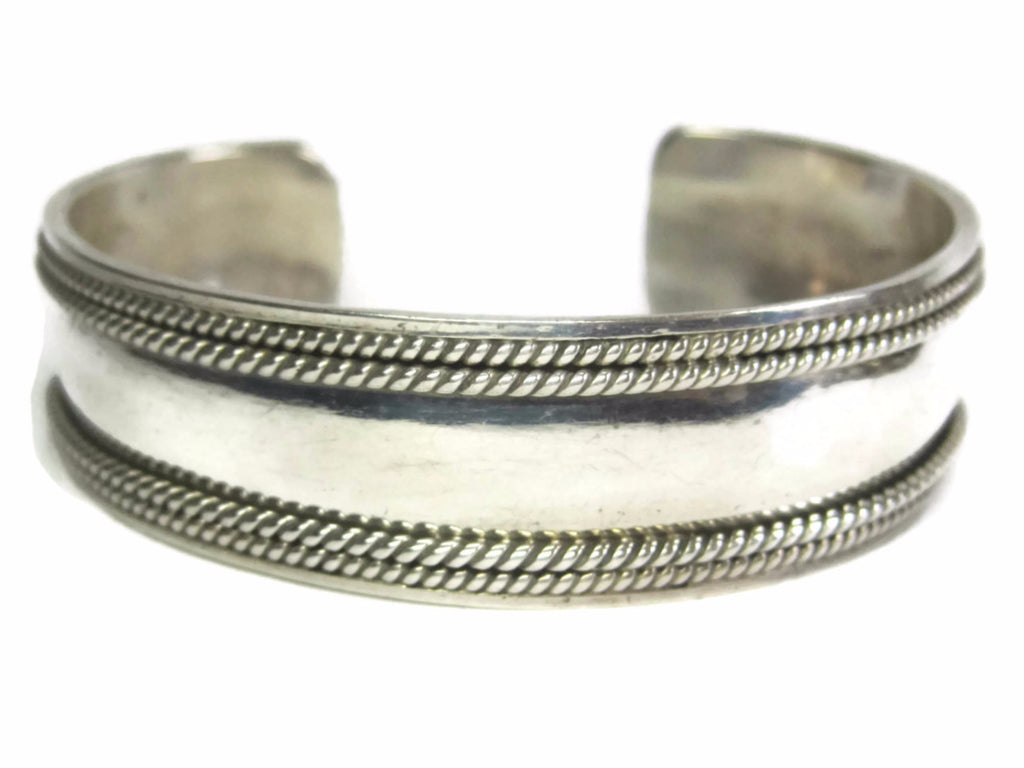 Wide 17mm Vintage Mexican Sterling Cuff Bracelet 7 Inches - Bejeweled Emporium - 1