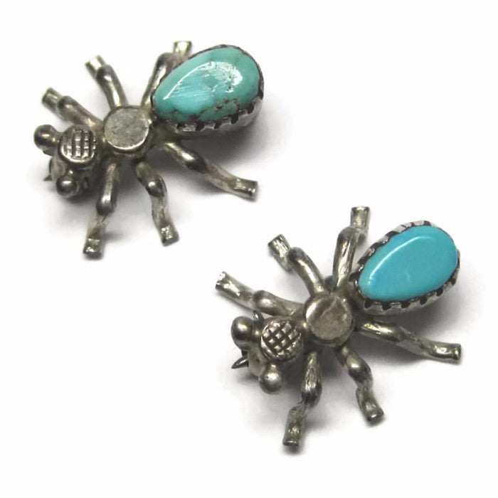 Tiny Vintage Native American Turquoise Spider Brooch Scatter Pins Set of 2 - Bejeweled Emporium - 1