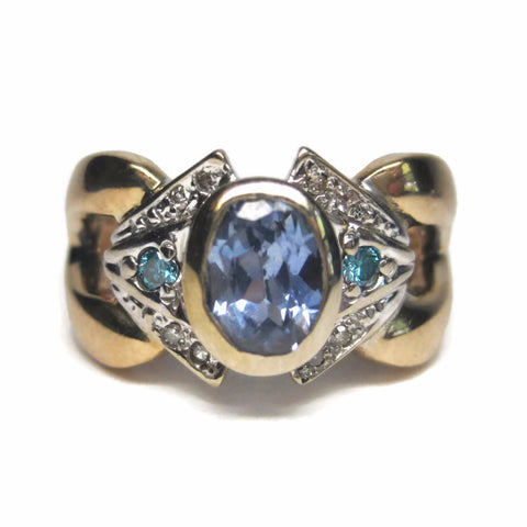 14K 1.3 Ct Natural Cornflower Sapphire and Blue Diamond Ring Size 5 - Bejeweled Emporium - 1