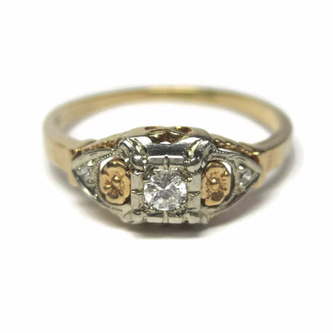 Dainty Antique 14K Two Tone Diamond Engagement Ring Size 7 - Bejeweled Emporium - 1