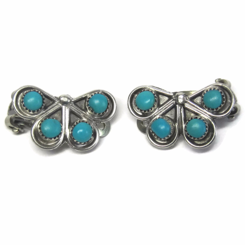 Vintage Sterling Zuni Turquoise Clip On Earrings - Bejeweled Emporium - 1